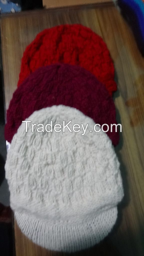 Handknitted visor Winter Hats