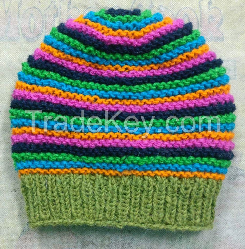 Stripes Woolen Winter Cap -New Arrival