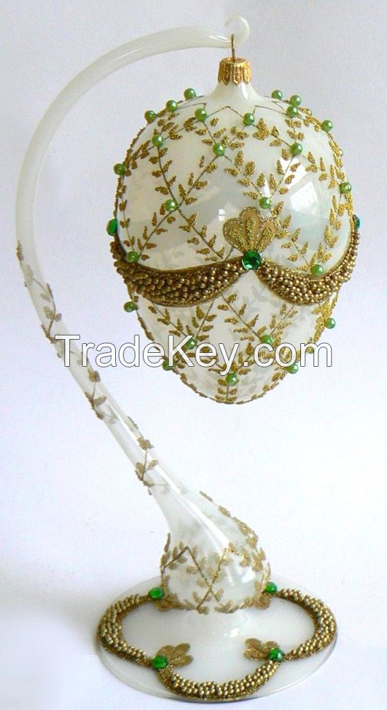 Mouth Blown Glass Faberge Style Christmas Egg OrnamentsMade in Poland