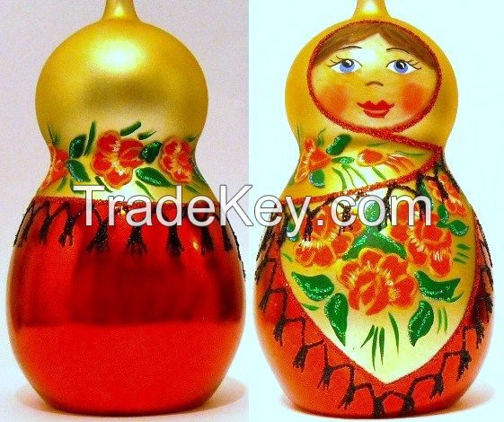 Mouth Blown Glass Matryoshka Christmas Tree Ormanent Made in Poland