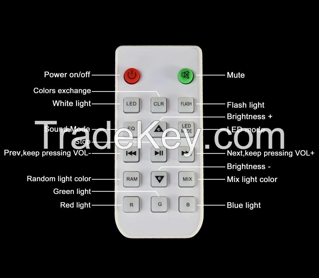 Remote control 9W RGB lamp with bluetooth speaker