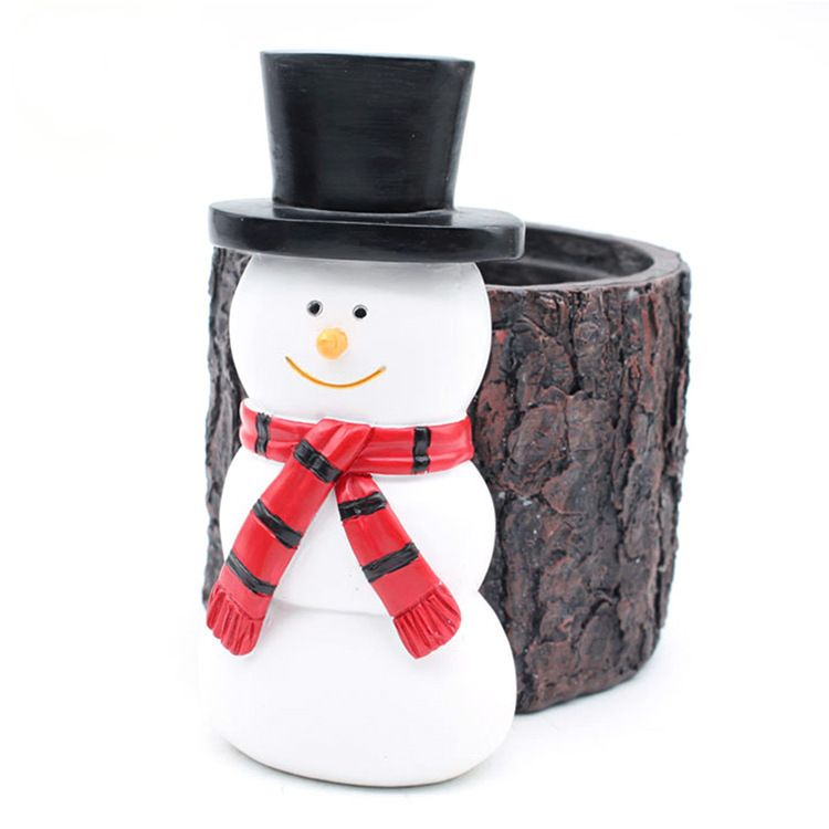 OEM design resin pencil holder pen holders resin snowman pen container, penguin pecil holders resin desktop organizer container