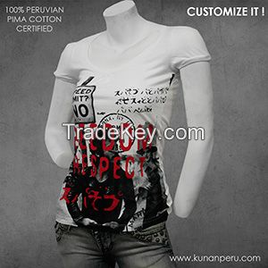 100% pima cotton t-shirt for women