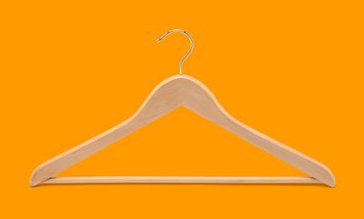 Light Wood Suit Hanger with Pants Bar