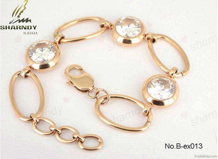 Stainless steel rose gold diamond bracelet