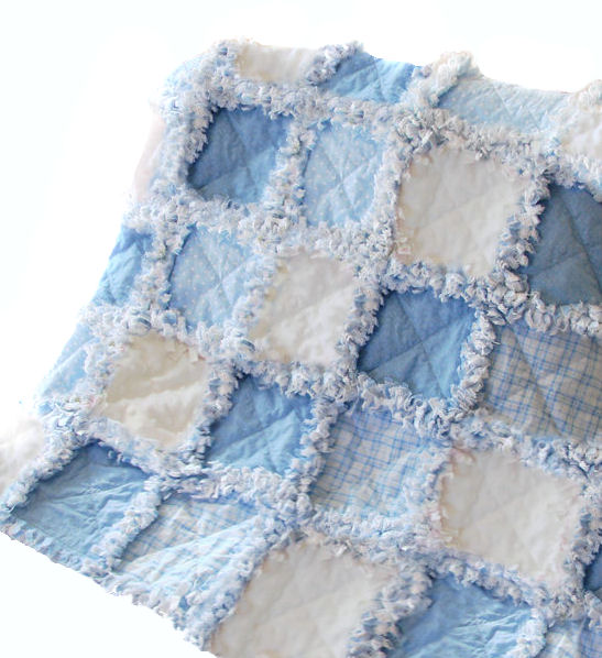 Blue and White Minky Dot Rag Quilt