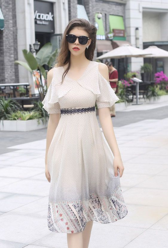 Women's short sleeve silk Midi Dress