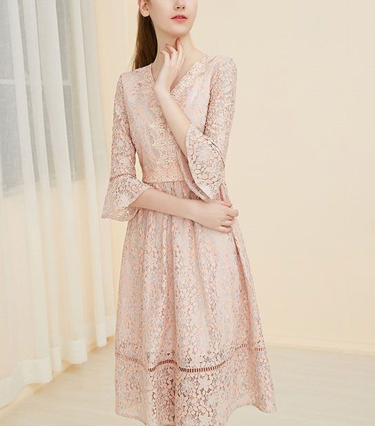 Women's Long Sleeves lace evening dress
