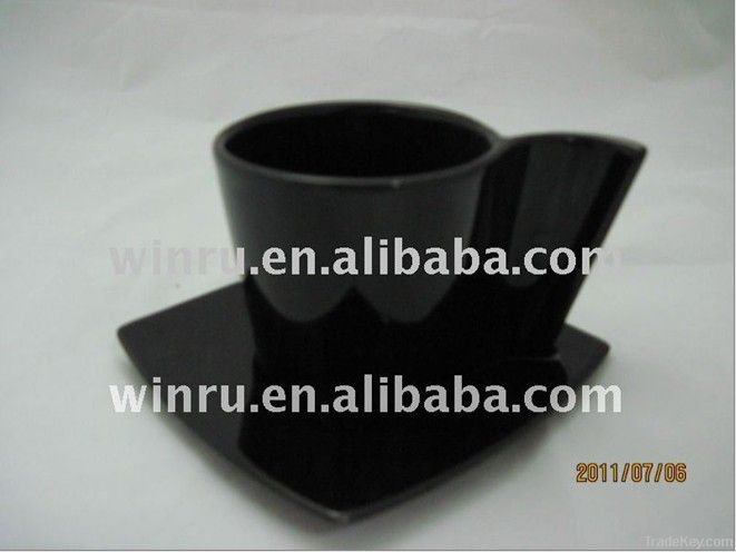 Black Cup Saucer Set