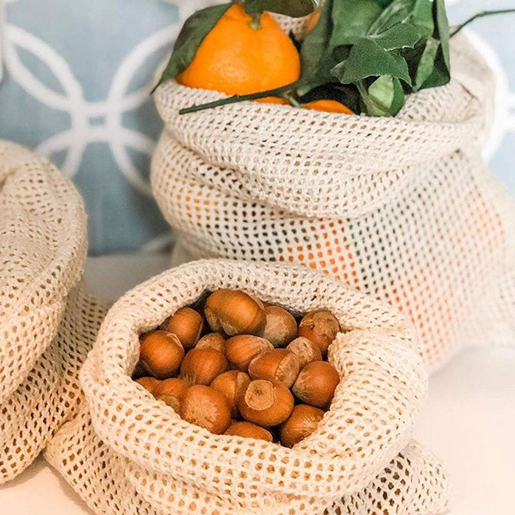 Organic Cotton Mesh Produce Bags for Food Storage Grocery Shopping Stay Fresh Environmentally Friendly Green Eco Bag