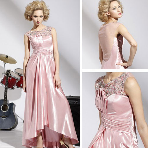 pink color silk wedding gown