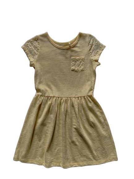 Grils Cotton Dress, Slub Yarn, Cotton lace on sleeves and front pocket
