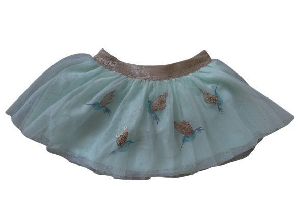Grils Lovely Skirts with Birds, Two Layers, Outer Mesh and Cotton Lining