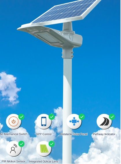 solar integrated steet light with app control