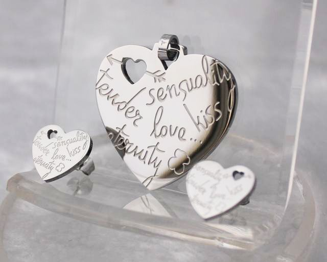 2013 heart shape high fashion stainless steel jewelry sets