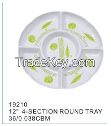 Highly welcomed printing useful plastic tray New design divided melamine/plastic fast food tray