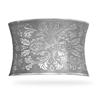 Concave Oxidized Floral Cuff Bracelet