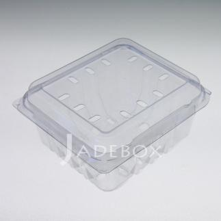 Disposable Hinged-Lid PET Plastic Produce Container Punnet