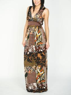 Satin Trim Print Maxi Dress