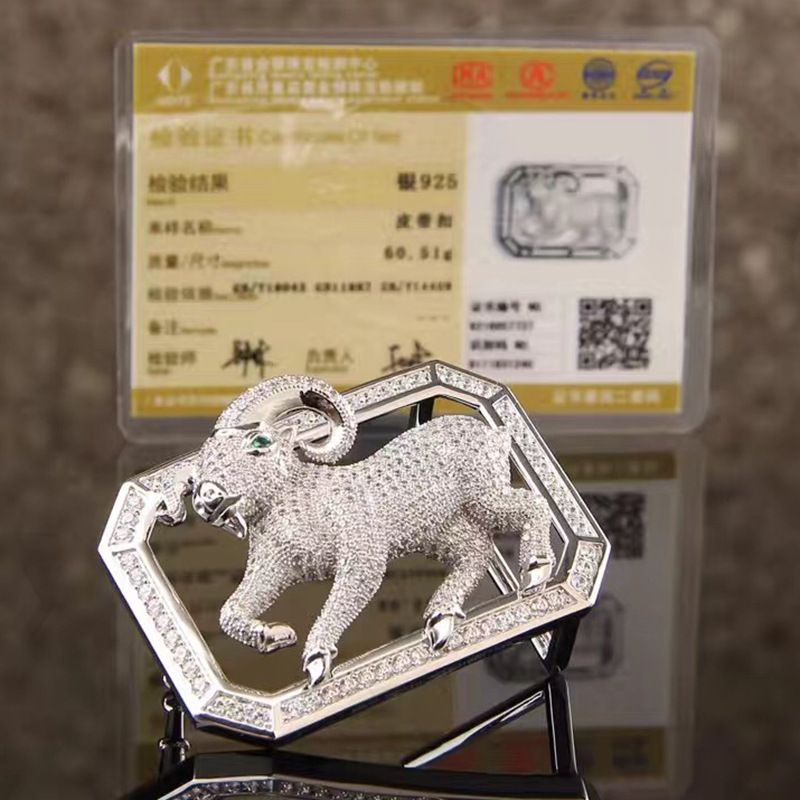 Chinese Zodiac S 925 Silver Belt Buckles