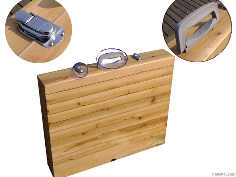 Wood Top Folding Table and Chair Set