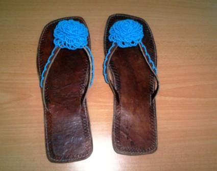 Ladies African Leather beaded Sandals