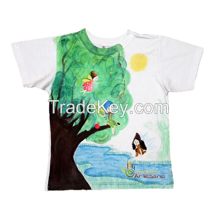T-SHIRT 100% PIMA COTTON HAND PAINTED WATERCOLOR TECHNIQUE