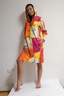 PRINTED COTON DRESS WITH HOOD