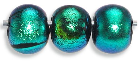 Dichroic aqua on black glass round bead 9mm