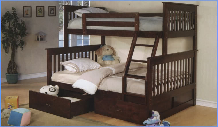 Dark Cherry Solid Wood Twin Over Full Bunk Bed Underbed Drawers