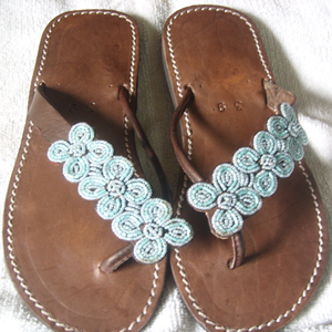 Handmade Leather Sandals beaded marvelously on the straps