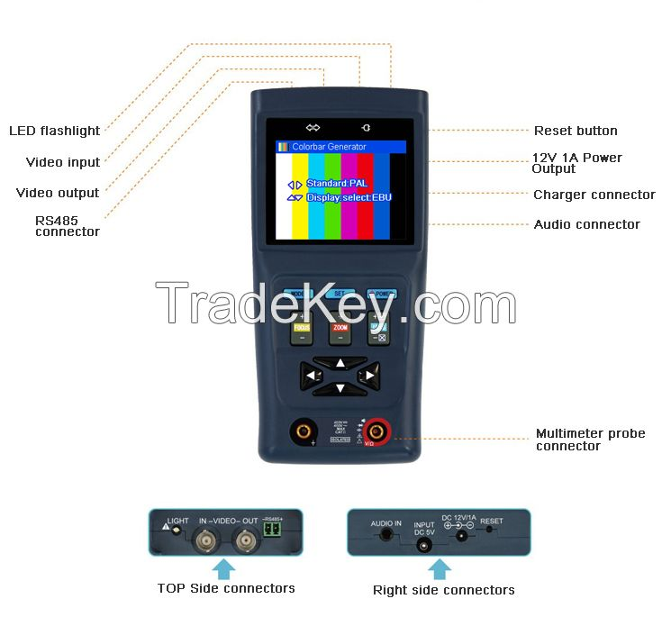 Analogue Camera CCTV Tester Monitor with Digital Multimeter V31 Drop Shipping