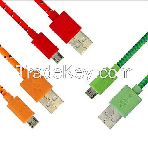USB 3.5mm stereo Colorful Braided Fabric Coated Aux Cable audio cable Male to Male for car iPhone MP3 MP4