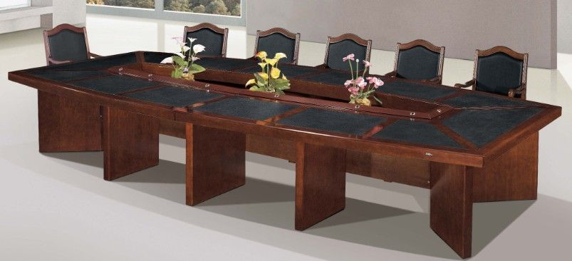 painted MDF veneer conference table with black leather, #B13-48