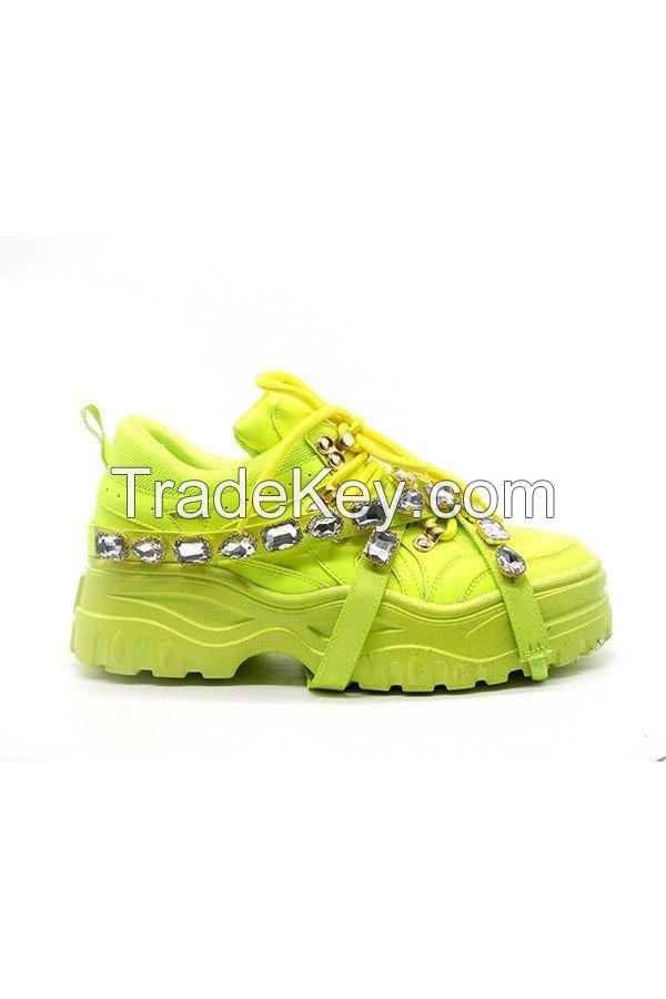 Women Green Rhinestone Strap Sneakers