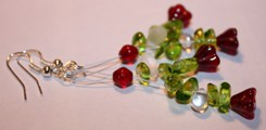 Earrings green tree with bells