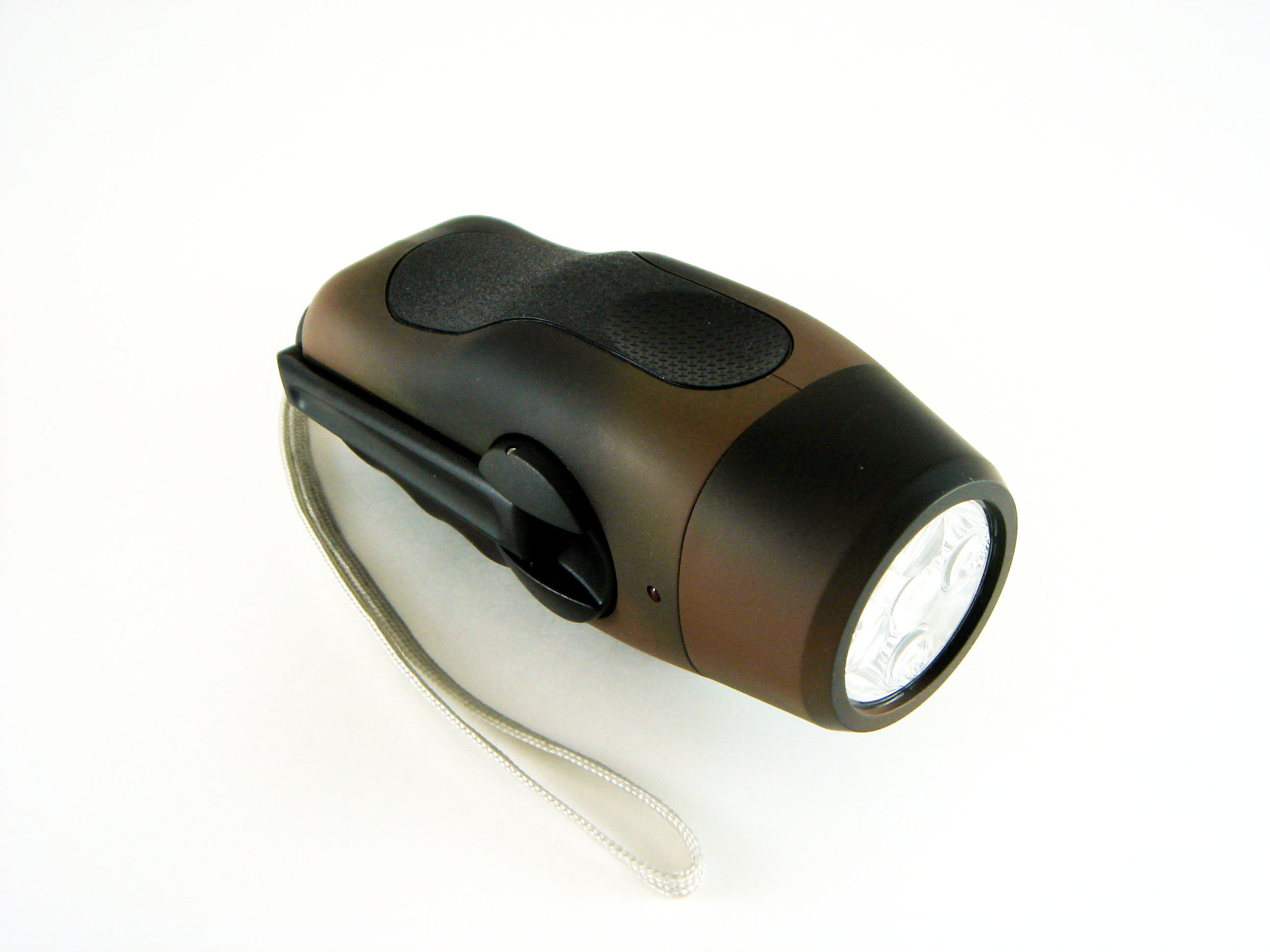 Hand Crank Powered Army Dynamo 5 LEDs Flashlight