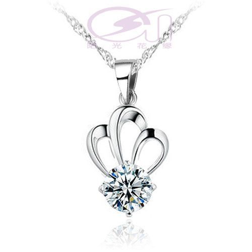 silver pendants, Imperial crown shape fashion jewelry, silver plated platinum