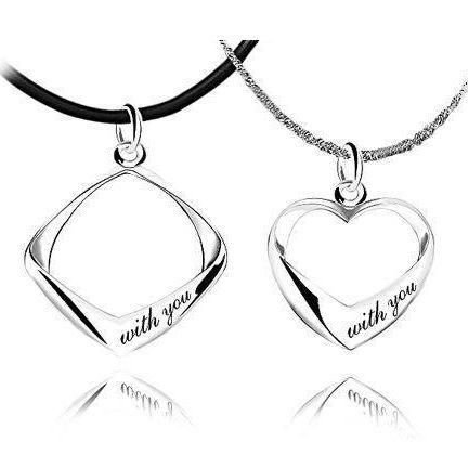 silver pendants, lover couple necklace