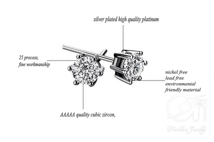 sell  silver earrings, zircon crystal jewelry
