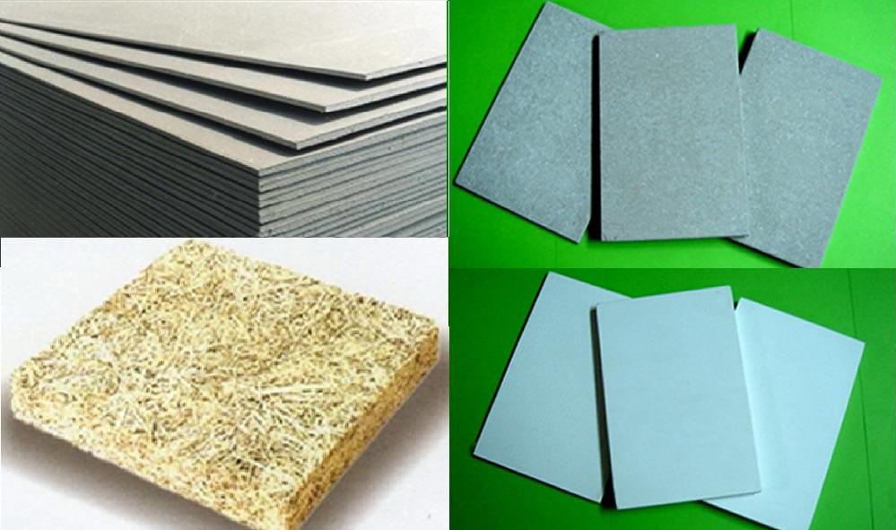 Gypsum board, calcium silicate, fiber cement, MGO oxid, wood mineralize