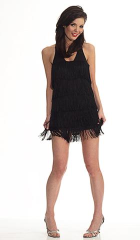 Sexy Dresses   Racer Back Mini Tiered Fringe Dress