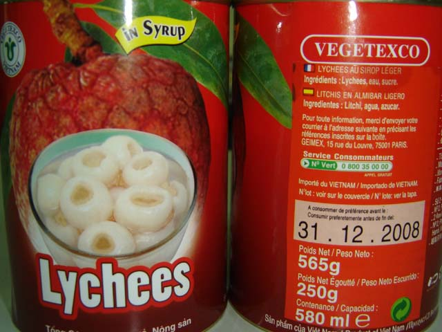tomato, cucumber, pineapple, lychee in can
