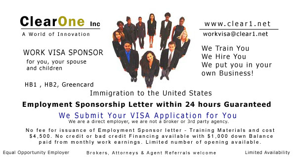 US Work VISA Letter of Employment Issued in 24 Hours