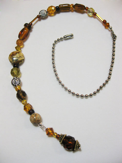 Gorgeous Topaz, Aoer, and Brown  Beaded Fan Pull