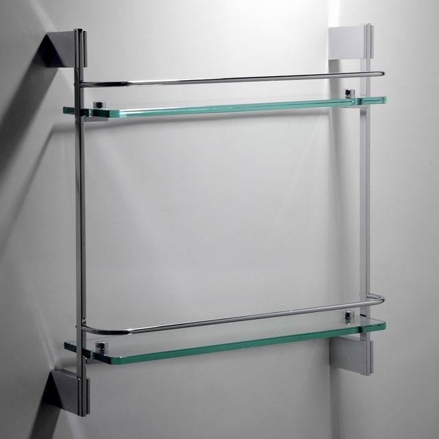 High quality double glass shelf brass material bathroom accessories