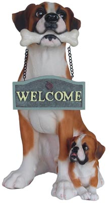 "Polyresin Dog With ""Welcome"""