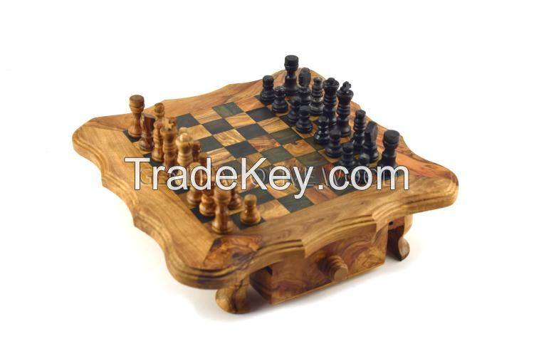 olive wood chess board game