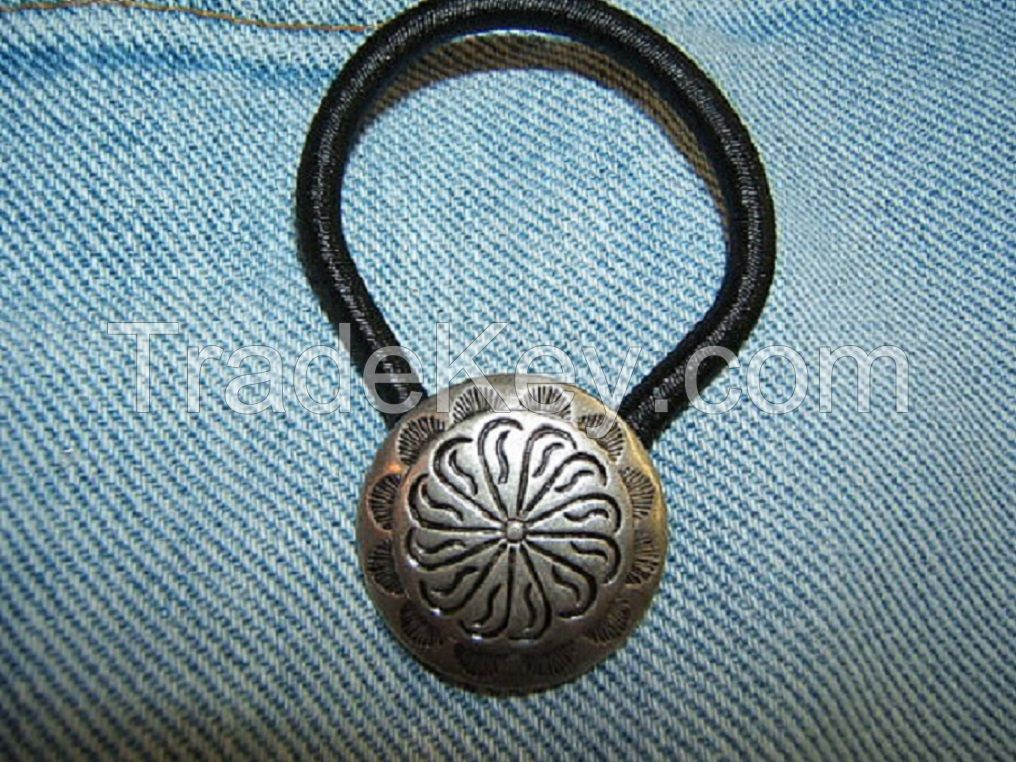 Free Shipping*, Indian Style. Concho Ponytail Holder, Hair Jewelry, Elastics, Ties, Boho, Silver Plate Antique Finish, #80091-1,