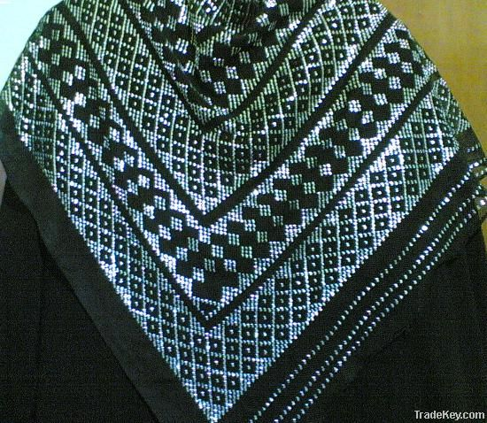 Tally art -embroidered shawls with silver plated thread